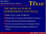 the mexican war of independence and texas