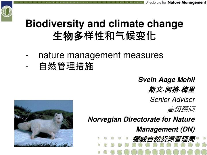 biodiversity and climate change n.