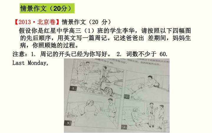 情景作文(20分)