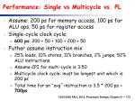 performance single vs multicycle vs pl