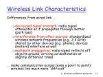 wireless link characteristics