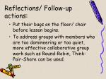 reflections follow up actions