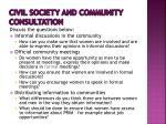 civil society and community consultation