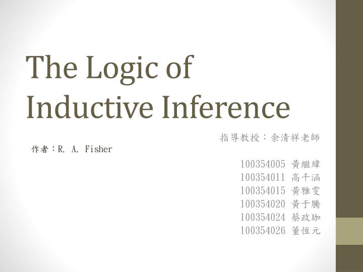 the logic of inductive inference n.