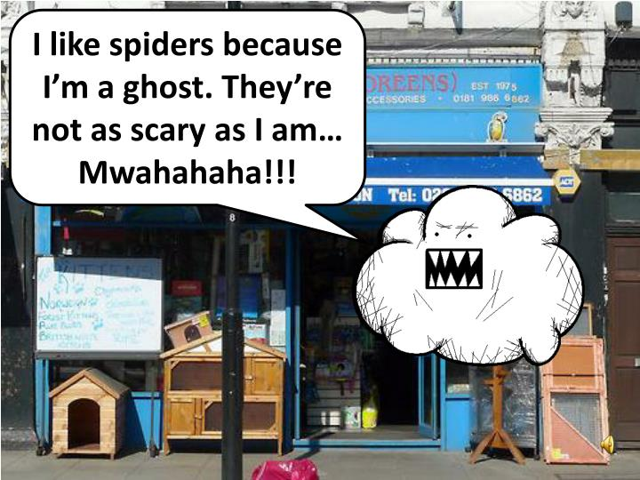 I like spiders because I'm a ghost. They're not as scary as I am…