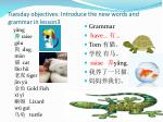 tuesday objectives introduce the new words and grammar in lesson3