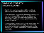 judgment synthetic a priori judgment