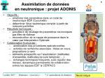 assimilation de donn es en neutronique projet adonis