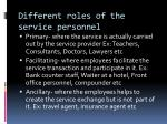 different roles of the service personnel