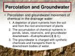 percolation and groundwater