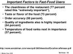 important factors to fast food users