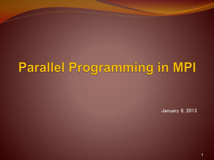 parallel programming in mpi n.