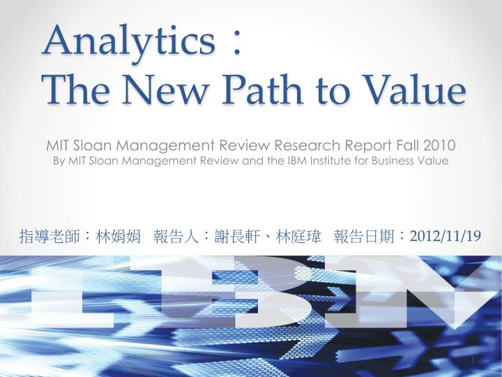 analytics the new path to value n.