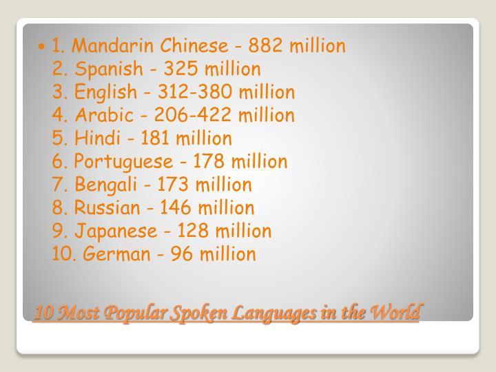 1. Mandarin Chinese - 882 million