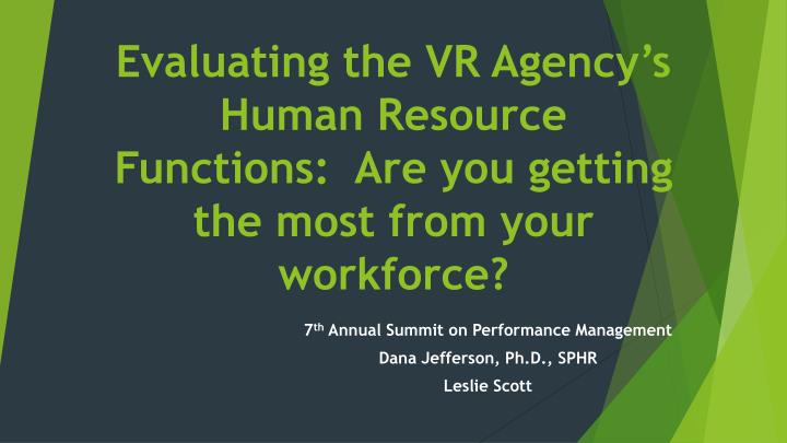 evaluating the vr agency s human resource functions are you getting the most from your workforce n.