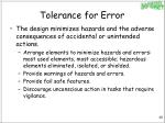 tolerance for error