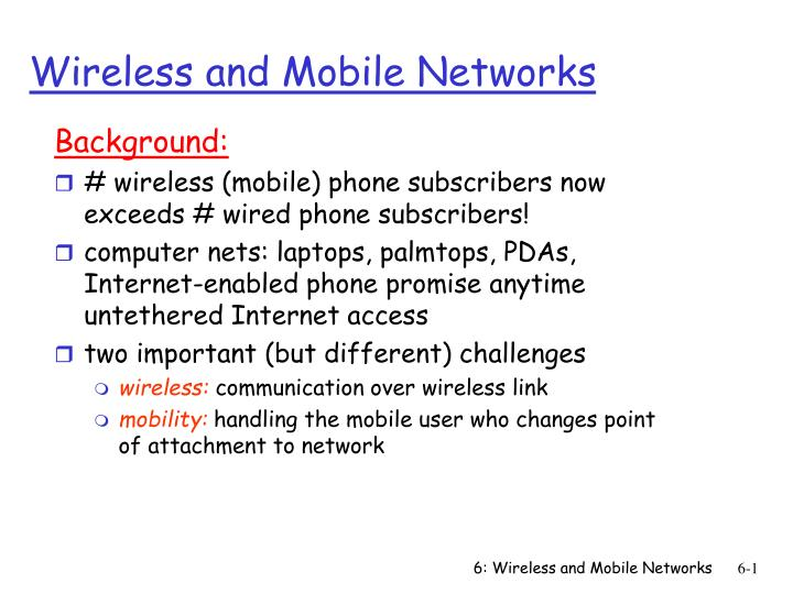 wireless and mobile networks n.