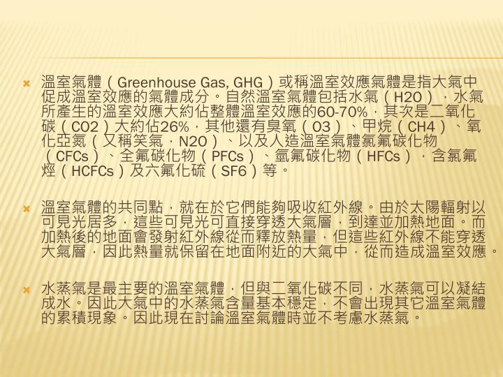 溫室氣體(Greenhouse Gas, GHG)或稱溫室效應氣體是指大氣中促成溫室效應的氣體成分。自然溫室氣體包括水氣(H2O),水氣所產生的溫室效應大約佔整體溫室效應的60-70%,其次是二氧化碳(CO2)大約佔26%,其他還有臭氧(O3)、甲烷(CH4)、氧化亞氮(又稱笑氣,N2O)、以及人造溫室氣體氯氟碳化物(CFCs)、全氟碳化物(PFCs)、氫氟碳化物(HFCs),含氯氟烴(HCFCs)及六氟化硫(SF6)等。