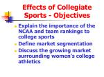 effects of collegiate sports objectives