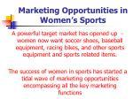 marketing opportunities in women s sports