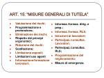art 15 misure generali di tutela