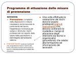 programma di attuazione delle misure di prevenzione