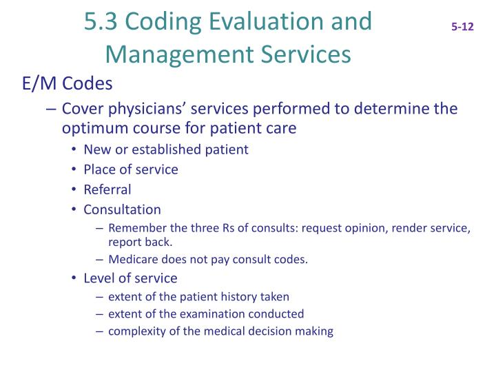 5 3 coding evaluation and management services n.