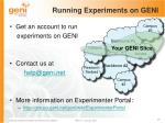 running experiments on geni