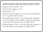 each court has its own court code