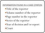 information found in a case citation