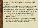 long term storage of hazardous waste