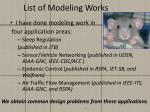list of modeling works