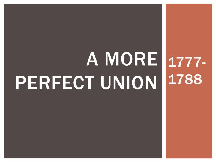 a more perfect union n.