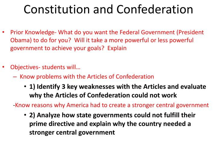 constitution and confederation n.