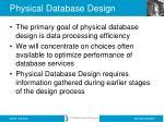 physical database design