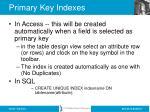primary key indexes