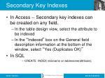 secondary key indexes