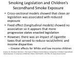 smoking legislation and children s secondhand smoke exposure