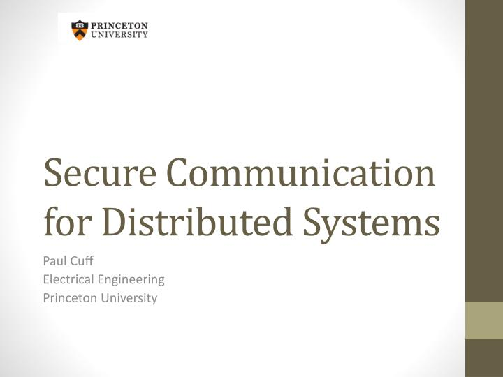secure communication for distributed systems n.