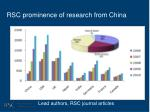 rsc prominence of research from china