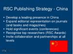 rsc publishing strategy china