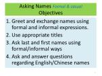 asking names formal casual objectives