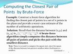 computing the closest pair of points by brute force