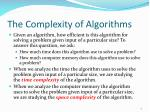 the complexity of algorithms