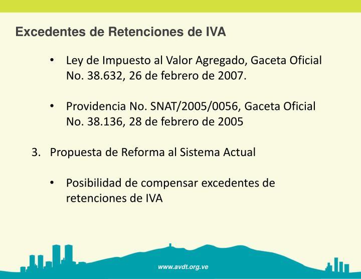 Excedentes de Retenciones de IVA