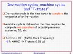 instruction cycles machine cycles and t states