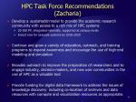 hpc task force recommendations zacharia