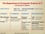 the department of computer science it university of jammu