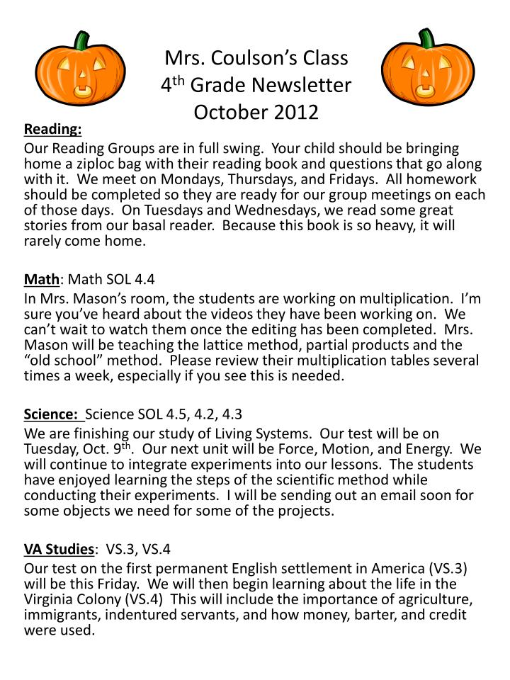 mrs coulson s class 4 th grade newsletter october 2012 n.