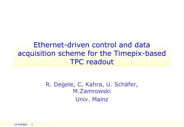 ethernet driven control and data acquisition scheme for the timepix based tpc readout n.